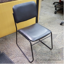 Black Metal Frame Stacking Chair Black Leather