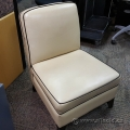 Beige Leather Sofa Chair w/ Black Trim