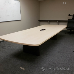 Teknion Blonde 12 ft Boardroom Table w/ Power Data Grommet
