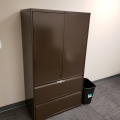 Brown 2 Door 2 Drawer Metal Storage Cabinet, Locking