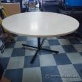 "Blonde Round 42"" Table w/ Black Metal Post Base"