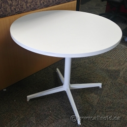 """White Round 36"""" Table w/ White Metal Post Base"""