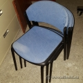 Blue Pattern Fabric Black Frame Guest Stacking Chair