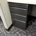 Haworth Charcoal 3 Drawer Under Desk Rolling Storage Pedestal