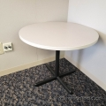 "Off White Surface 42"" Round Table w/ Black Metal Base"