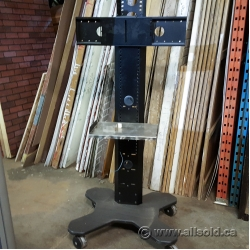 Rolling Dual Post TV Stand Mount w/ Media Tray