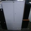 Off White Steelcase 2 Door 2 Drawer Wardrobe Storage Cabinet