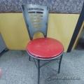Black Metal Frame Red Wooden Seat Industrial Guest Chair