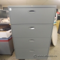 Grey Steelcase 4 Drawer Lateral File Cabinet, Locking