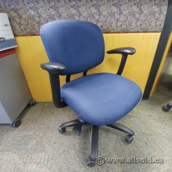Blue Pattern Fabric Haworth Mid Back Office Chair