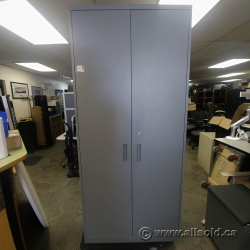 Tall Grey Steelcase 2 Door Storage Cabinet w/ Metal Shelving