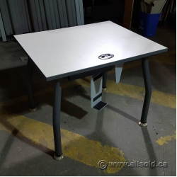 Off White Surface Table with Grey Trim, Legs, and CPU Rack