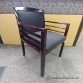 Grey Fabric & Dark Cherry Wooden Guest Reception Side Chair