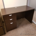 Espresso Single Pedestal Straight Desk