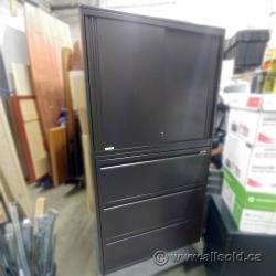 Black Steelcase 3 Drawer Lateral Storage Cab w/ Sliding Doors