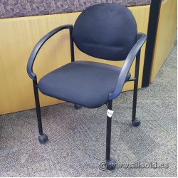 Black Fabric Rolling Stacking Guest Chair w/ Fixed Plastic Arms