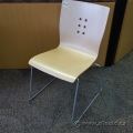 Blonde Wood Seat Metal Frame Stacking Chair