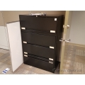 "36"" Black 4 Drawer Lateral File Cabinet Flip Front Style"