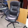 Black Leather High Back Office Chair w/ Fixed Padded Arms