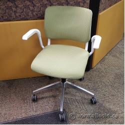 White w/ Green Cushion KI Grazie Adjustable Office Task Chair