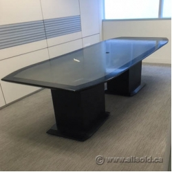 Boat Shaped Black and Grey Boardroom Table 10' x 4'