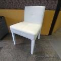 White Leather Chair w/ White Post Legs