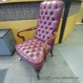 Red Fawkes Tufted Leather Smoking Chair