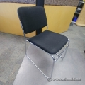 Black Chrome Cloth Guest Stacking Chair Sled Based