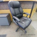 Black Leather Office Task Chair with Grey Arms and Base