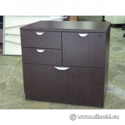 Espresso 4 Drawer Double Wide Pedestal File Cabinet, Locking