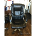 Black Leather Office Task Chair w/ Padded Arms and Grey Base