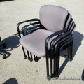 Haworth Grey Fabric Rolling Stacking Guest Chair w/ Fixed Arms