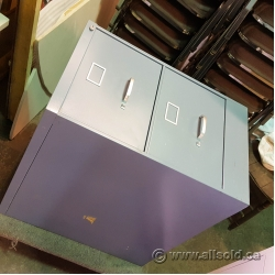 Blue 2 Drawer Legal Size Box Box File Cabinet