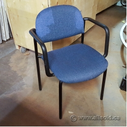 Blue Pattern Fabric Stacking Guest Chair, Black Frame
