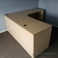 Blonde L Suite Desk with Pedestal Storage
