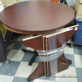 "Mahogany Wood 39"" Round Table with Cutout Cross Base"