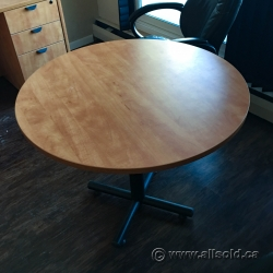 "Autumn Maple 36"" Round Meeting Table w/ Black Post Back"
