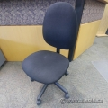 Black Fabric Tacker Office Chair, No Arms