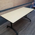 Blonde Surface Rolling Nesting Table w/ Black Frame and Legs