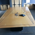 12ft Trapezoid Birds Eye Maple Boardroom Table w/ Black Base