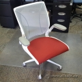 White with Red Padded Seat Humanscale Diffrient World Task Chair