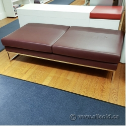 Brown Leather Bench Ottoman w/ Chrome Legs
