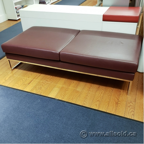 Brilliant Brown Leather Bench Ottoman W Chrome Legs Allsold Ca Theyellowbook Wood Chair Design Ideas Theyellowbookinfo