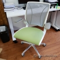 White w/ Green Padded Seat Humanscale Diffrient World Task Chair