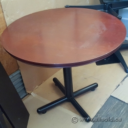 "36"" Round Mahogany Meeting Table Bevelled Edge w/ Black Post"