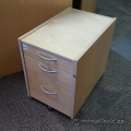 Blonde Ikea 3 Drawer Rolling Locking Storage Pedestal