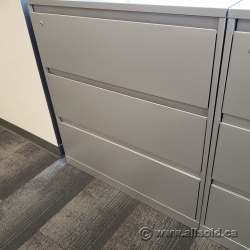 "Grey Steelcase 36"" 3 Drawer Lateral File Cabinet, Locking"