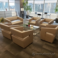 Contemporary Modern Beige Leather Lobby Reception Furniture