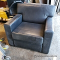 Black Soft Supple Leather Sofa Arm Chair