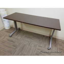 Espresso Modular Rolling Office Training Table w/ Grey Base
